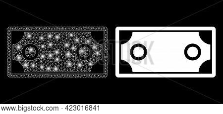 Magic Mesh Vector Banknote Template With Glare Effect. White Mesh, Glare Spots On A Black Background