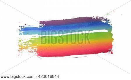 Rainbow Watercolor Stroke. Lgbt Flag. Splash Vector Illustration