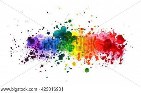 Rainbow Watercolor Splash Background. Colorful Vector Illustration