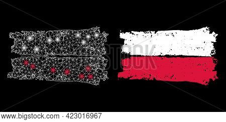 Glamour Mesh Vector Poland Flag With Glow Effect. White Mesh, Flash Spots On A Black Background With