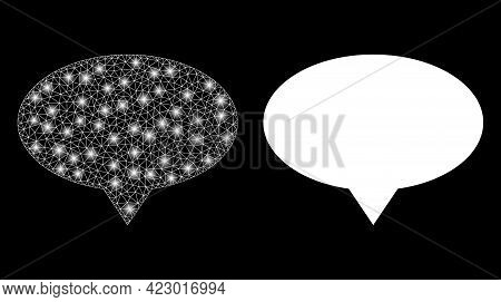Glossy Mesh Vector Banner Pointer With Glare Effect. White Mesh, Bright Spots On A Black Background