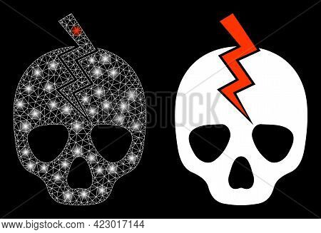 Glossy Mesh Vector Death Strike With Glare Effect. White Mesh, Glare Spots On A Black Background Wit