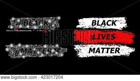 Magic Mesh Vector Black Lives Matter With Glare Effect. White Mesh, Glare Spots On A Black Backgroun
