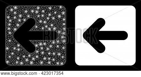 Glossy Mesh Vector Left Cursor With Glare Effect. White Mesh, Bright Spots On A Black Background Wit