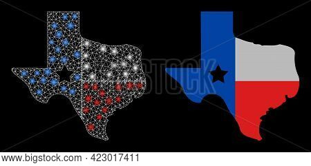 Bright Mesh Vector Texas Map Logo With Glare Effect. White Mesh, Glare Spots On A Black Background W