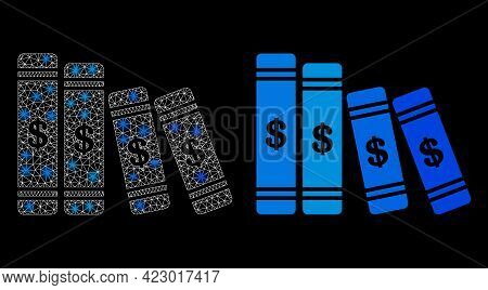 Glossy Mesh Vector Accounting Books With Glow Effect. White Mesh, Glare Spots On A Black Background