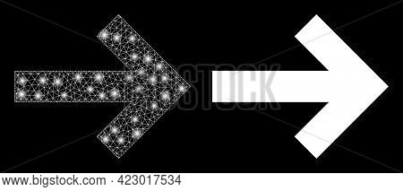 Glamour Mesh Vector Right Direction Arrow With Glare Effect. White Mesh, Flash Spots On A Black Back