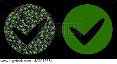 Glossy Mesh Vector Approve With Glow Effect. White Mesh, Glare Spots On A Black Background With Appr