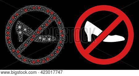 Glossy Mesh Vector Forbidden Shoes With Glow Effect. White Mesh, Glare Spots On A Black Background W