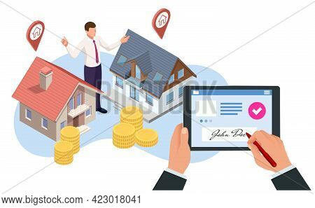 Isometric Signed Real Estate Purchase Or Lease Agreement. Buyer. Mortgage Online, New Home Buying On