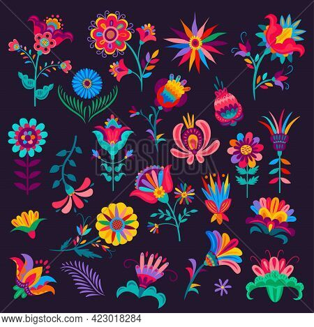 Cartoon Mexican Flowers, Buds And Blossoms, Vector Plants With Colorful Petals And Stems, Elements F