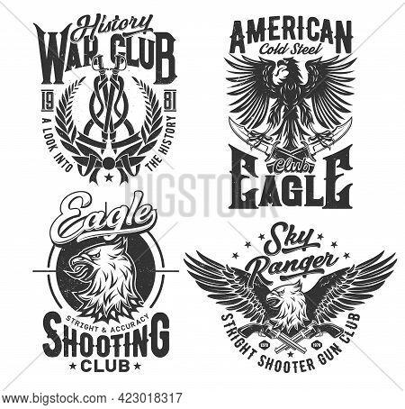 Eagle American T Shirt Print, Club Of Shooting, Vector Emblem Icons. Sky Rangers And Military Shooti
