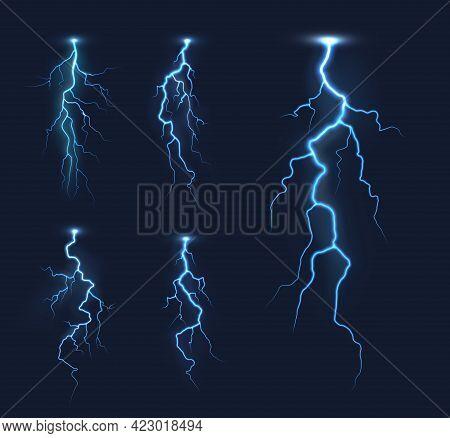 Lightning Thunderbolts, Thunderstorm Bolt Vector Light Effects. Rainstorm Electric Discharge, Lightn