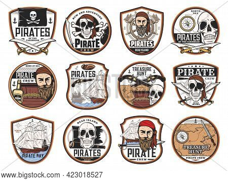 Pirate And Corsair Icons With Vector Skulls, Captains, Ships, Treasure Map And Chest. Pirate Black F