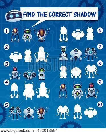 Kids Game Find The Robot Shadows, Vector Riddle Match Correct Cyborg Silhouettes. Children Logic Tes