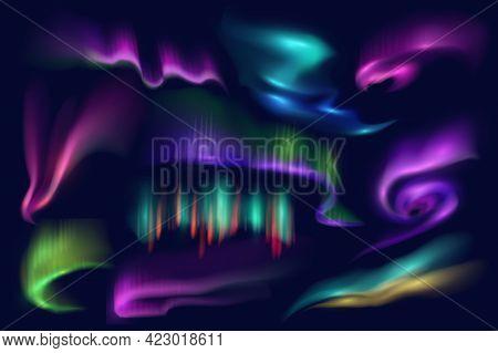 Northern Polar Lights, Aurora Borealis Glow, Vector Arctic Natural Phenomena Isolated On Blue Backgr
