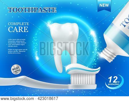 Whitening Toothpaste And Brush, Dental Care, Teeth Cleaning Vector Ad Poster With White Healthy Toot