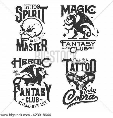 Dragon Griffin, Skull And Cobra Snake T-shirt Prints, Tattoo Salon And Fantasy Club Emblems. Gothic