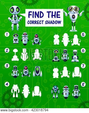 Find The Correct Robot Shadow Kids Riddle, Vector Match Game With Cartoon Cyborg Silhouettes. Childr