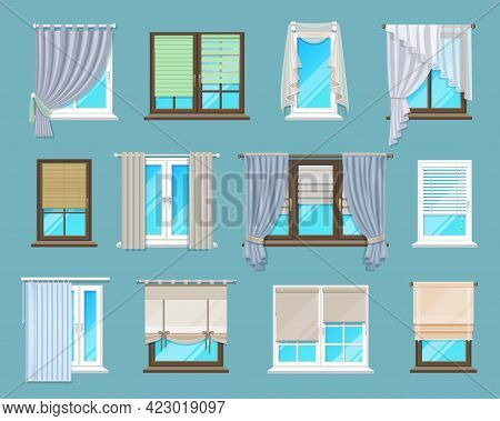 Home And Office Interior Window Blinds, Shades And Curtains. Apartment Or House Window Coverings Set