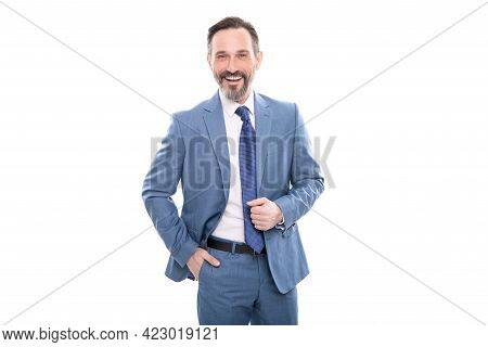 Happy Mature Grizzled Boss In Businesslike Suit Isolated On White, Formalwear