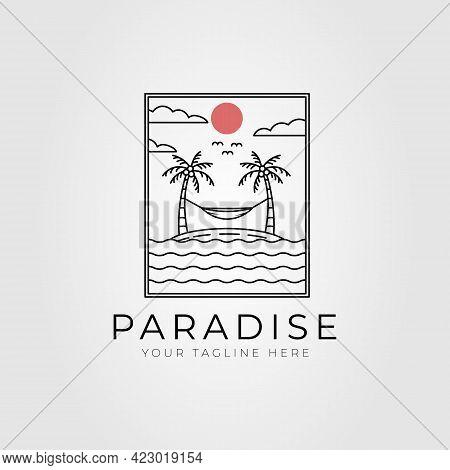 Summer Paradise Beach Island Line Art Logo Vector Illustration Design