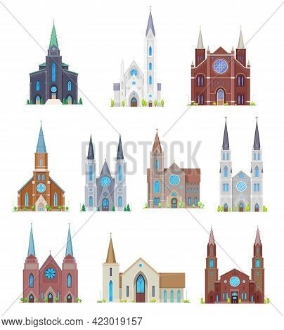 Protestant Churches, Christian Community Temples Buildings. Cartoon Vector Medieval Cathedral Facade