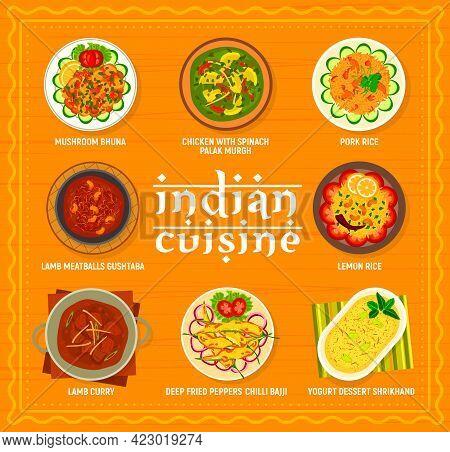 Indian Cuisine Menu Vector Template. Yogurt Dessert Shrikhand, Deep Fried Peppers Chili Bajji And Le