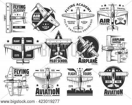 Flying Academy Or Pilot School Icons Set. Air Travel, Airplane Show And Aviation Courses Training Pr