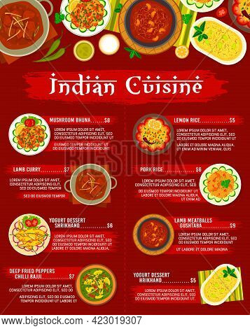 Indian Cuisine Restaurant Menu Template. Mushroom Bhuna, Lamb Meatballs Gushtaba And Lamb Curry, Chi
