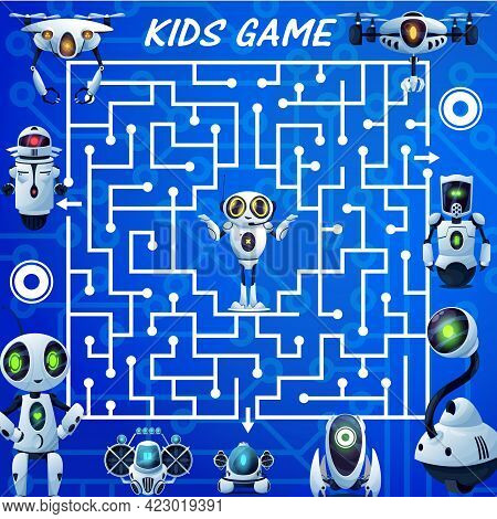 Kids Labyrinth Maze Game, Cartoon Robots Vector Boardgame. Find Correct Way Test With Ai Bots, Cybor