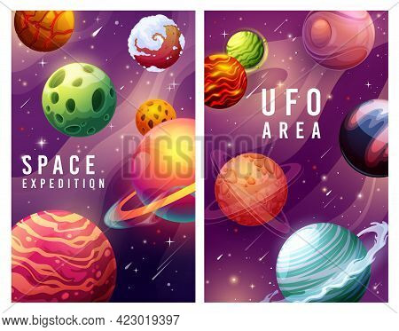 Space Expedition And Ufo Area, Galaxy Planets And Stars Landscape Vector Posters. Universe Explorati