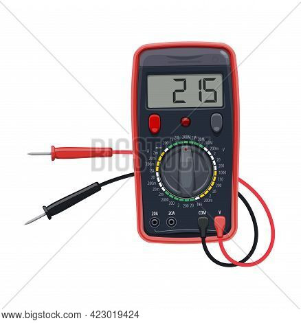 Cartoon Multimeter Electrical Equipment, Vector Test Of Voltage, Resistance And Current. Digital Mul