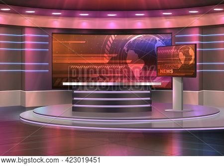 Breaking News Television Studio Realistic Vector Interior. Tv Show, News Broadcasting Room With Pede