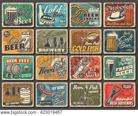 Craft Beer Festival, Brewery And Snacks Tin Signs. Beer Brewing And Pub Equipment Grunge Vector Meta