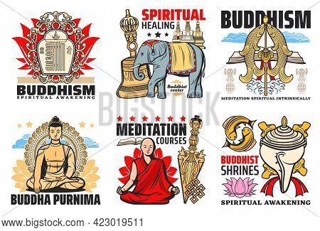 Buddhism Religion Icons, Buddha Purnima And Meditation Courses Emblems. Kalachakra Symbol, Elephant