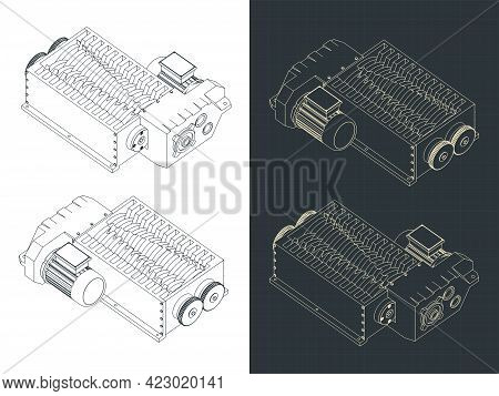 Shredder Machine Isometric Blueprints
