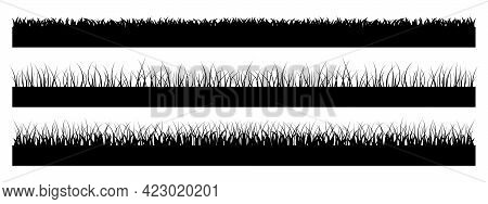 Set Of Horizontal Banners Of Meadow Silhouettes With Grass. Simple Flat Collection Of Black Silhouet
