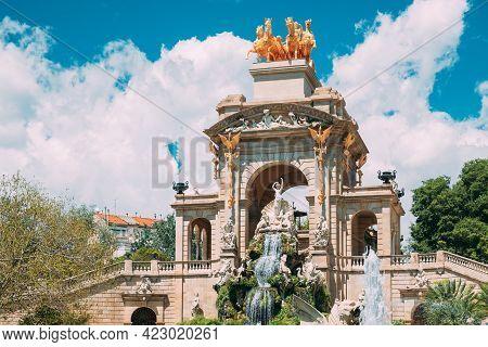 Barcelona, Spain. View Of Citadel Park In Sunny Day.