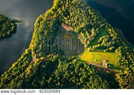 Novoe Lyadno, Lepel Lake, Beloozerny District, Vitebsk Region. Aerial View Of Island Pension Lode In
