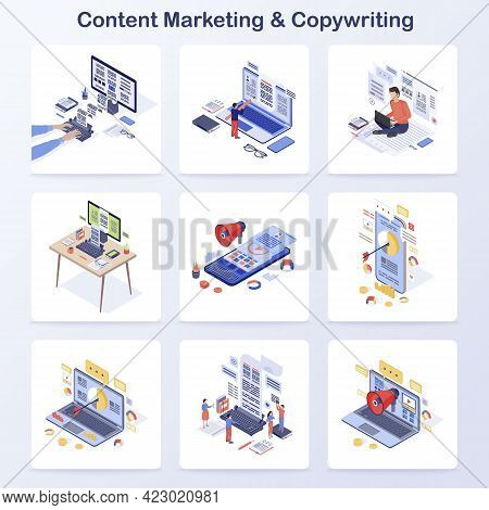 Content Marketing And Copywriting Isometric Concept Vector Icons Set. Engaging Content Creating, Med