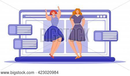 Body Positive Flat Vector Illustration. Females In Dresses Staying On Laptop Keyboard. Struggle For