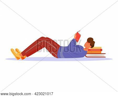 Young Man Reading Book Flat Vector Illustration. Guy Studying Publication, Putting Stack Of Textbook