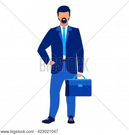 Businessman, Office Worker Flat Vector Illustration. Company Employee, Ceo Isolated Cartoon Characte