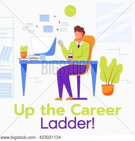 Up The Career Ladder Social Media Post Mockup. Comfortable Workplace. Advertising Web Banner Design