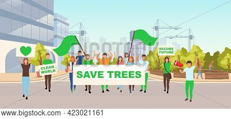 Save Trees Social Protest Flat Vector Illustration. Ecological Movement, Environmental Activism Conc
