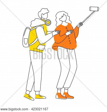 Young Couple Making Selfie Flat Contour Vector Illustration. Two Teen Friends Taking Photo Isolated