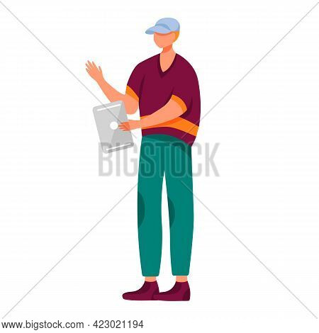 Young Man With Tablet Flat Vector Illustration. Teenager Culture. Millennial. Full Body Guy Holding