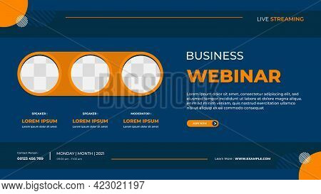 Business Webinar Banner Template For Website With Orange Triple Circle Frame And Blue Background