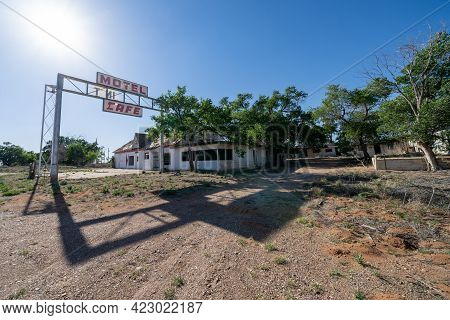 Glenrio, Texas - May 6, 2021: Abandoned Sign For The Former First Last Motel In Texas In The Route 6